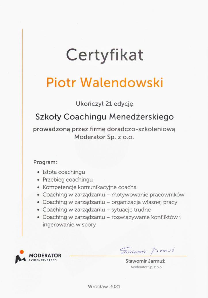 Certyfikat - Szkola Coachingu Menedzerskiego - Walendowski Piotr
